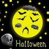 Nahtloses Muster Halloweens mit dem Schädel und den Schlägern Lizenzfreie Stockfotografie