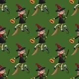 Nahtloses Muster Halloweens mit junger Hexen- und Skelettkatze vektor abbildung