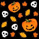 Nahtloses Muster Halloweens mit Kürbis, Blättern und Scull, Illustration Stockbild