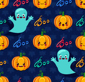 Nahtloses Muster Halloweens mit netten Kürbisen und Gespenstern Stockfoto