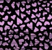 Nahtloses Muster Handder gezogenen Tinten-Herzen, flüchtiges artsy, Kalligraphiespitzenzeichnung stock abbildung