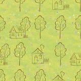 Nahtloses Muster, Hauskonturen und Bäume Stockfoto
