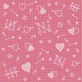 Nahtloses Muster: Herzen, Pfeile, Liebesbeziehung lizenzfreies stockbild