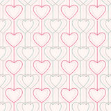 Nahtloses Muster Herzen und Linien geometrisch lizenzfreie abbildung