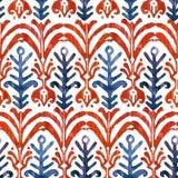 Nahtloses Muster Ikat-Aquarells Vibrierender Mit Blumenwatercolour Lizenzfreies Stockfoto