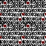 Nahtloses Muster im Aquarellbürsteneffekt - XoXo-Valentinsgrußhintergrund Lizenzfreies Stockfoto