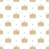 Nahtloses Muster im Retrostil mit einer Goldkrone auf einem weißen Hintergrund Stockfotos