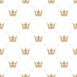 Nahtloses Muster im Retrostil mit einer Goldkrone auf einem weißen Hintergrund Kann für Tapete, Musterfüllen, Webseite backgr ver Lizenzfreie Stockbilder