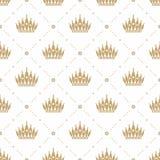 Nahtloses Muster im Retrostil mit einer Goldkrone auf einem weißen Hintergrund Kann für Tapete, Musterfüllen, Webseite backgr ver Stockbild