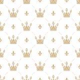 Nahtloses Muster im Retrostil mit einer Goldkrone auf einem weißen Hintergrund Kann für Tapete, Musterfüllen, Webseite backgr ver Stockfotografie