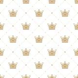 Nahtloses Muster im Retrostil mit einer Goldkrone auf einem weißen Hintergrund Kann für Tapete, Musterfüllen, Netz verwendet werd Stockfoto