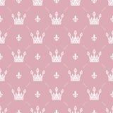 Nahtloses Muster im Retrostil mit einer weißen Krone auf einem rosa Hintergrund Kann für Tapete, Musterfüllen, Webseite backgr ve Lizenzfreie Stockbilder