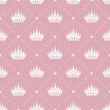 Nahtloses Muster im Retrostil mit einer weißen Krone auf einem rosa Hintergrund Kann für Tapete, Musterfüllen, Webseite backgr ve Lizenzfreies Stockbild
