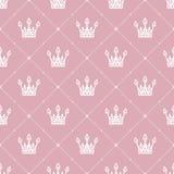 Nahtloses Muster im Retrostil mit einer weißen Krone auf einem rosa Hintergrund Kann für Tapete, Musterfüllen, Webseite backgr ve Lizenzfreie Stockfotografie