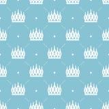 Nahtloses Muster im Retrostil mit einer weißen Krone auf einem Türkishintergrund Kann für Tapete, Musterfüllen, Webseite b verwen Stockbilder