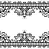 Nahtloses Muster indische mehndi Grenzelemente mit Blumen Stockfotos