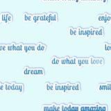 Nahtloses Muster - inspirierend Zitate auf einem blauen Pastellhintergrund Lizenzfreie Stockfotografie