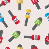 Nahtloses Muster - Journalismus, Livenachrichten, Nachrichten der Welt Lizenzfreies Stockfoto