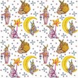 Nahtloses Muster, Kaninchen in den Pyjamas lizenzfreie abbildung