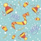 Nahtloses Muster Kappenschalhandschuhe Winterkind-` s Kleidung Schneeflocken auf der Straße Hallo Winter beschriftung lizenzfreie abbildung