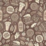 Nahtloses Muster Karikatur-nette Hand gezeichnetes Bier Fest lizenzfreie abbildung