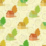Nahtloses Muster, Karikaturhäuser und Bäume Stockfotos