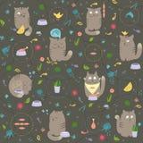 Nahtloses Muster - Katzen mit Nahrungsmitteln Lizenzfreies Stockbild