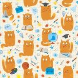 Nahtloses Muster - Katzen Studing Schulfächer Stockfotos