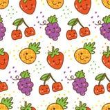 Nahtloses Muster Kawaii-Frucht mit Erdbeere, Kirsche, Traube usw. lizenzfreie abbildung