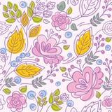 Nahtloses Muster, Kontur, rosa Blumen, gelbe Blätter, rosa Hintergrund Stockfotografie