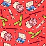 Nahtloses Muster Kosmetik eingestellt Lidschatten, Wimperntusche, erröten, zeichnen für Augen an Stockfoto