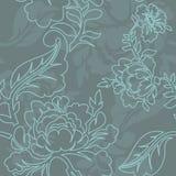 Nahtloses Muster linearer Art Rose Retro- Blumenbeschaffenheit Lizenzfreie Stockbilder
