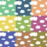 Nahtloses Muster Lustige Wolken auf Himmel Stockbild