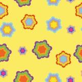 Nahtloses Muster, magische Blumen auf gelbem Hintergrund stockfotografie