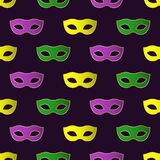 Nahtloses Muster Mardi Gras Carnivals mit bunten Masken Stockfotografie