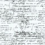 Nahtloses Muster Mathe handgeschrieben auf einem Gitterschreibheftpapier stock abbildung