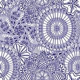 Nahtloses Muster Mehendi des Blaus mit weißer Farbe Gezeichnete Elemente Art Boho indische Hand Stockfoto