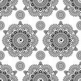 Nahtloses Muster mehndi Blumenspitze von buta Dekorationseinzelteilen auf weißem Hintergrund Stockbilder
