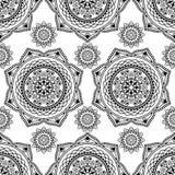 Nahtloses Muster mehndi Blumenspitze von buta Dekorationseinzelteilen auf weißem Hintergrund Stockfotos