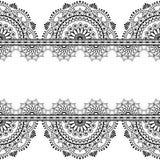 Nahtloses Muster mehndi indische Grenzen mit widergespiegelten Blumen und geometrische Elemente für Tätowierung Stockfoto