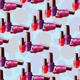 Nahtloses Muster, mehrfarbiger Nagellack Lizenzfreies Stockbild