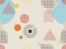 Nahtloses Muster Memphis Geometrische Elemente Memphis im Stil 80s Bauhaus Retro- Vektor lizenzfreie abbildung