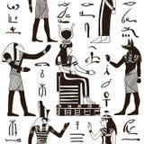 Nahtloses Muster mit ägyptischen Göttern und alten ägyptischen Hieroglyphen Stockfoto