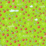Nahtloses Muster mit Äpfeln, Herzen, Wolken und Tropfen Lizenzfreie Stockfotografie