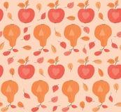 Nahtloses Muster mit Äpfeln und Birnen Stockfotografie
