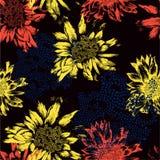 Nahtloses Muster mit abstrakten Blumen auf schwarzem Ba Stockfotografie