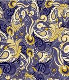 Nahtloses Muster mit abstrakten Blumen und Kurven Stockbild