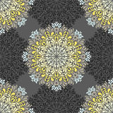 Nahtloses Muster mit abstrakten Elementen, Damastfliesen stock abbildung