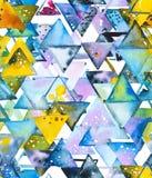 Nahtloses Muster mit abstrakten geometrischen Dreiecken in der chaotischen Bestellung Lizenzfreies Stockfoto