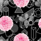 Nahtloses Muster mit abstrakten geometrischen Formen, Blume und Kaktus Linie Kunsthintergrund Stockbild